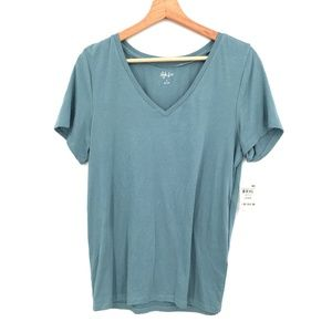 NEW Style & Co T-Shirt top v-neck tee shirt casual Blue L Super soft women's